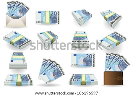 20 Euro Finance Banknotes full set of twenty euro banknotes. Isometric Money Portfolio Collection Market Business Vector 3d Set