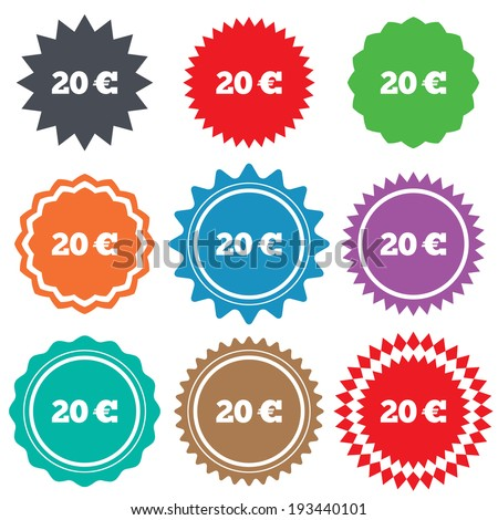 20 Euro sign icon. EUR currency symbol. Money label. Stars stickers. Certificate emblem labels. Vector - stock vector