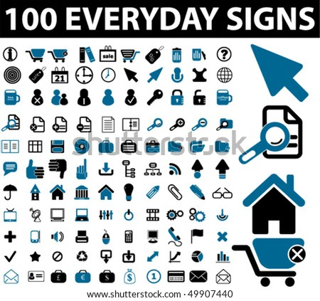 100 everyday signs. vector