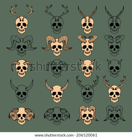 10 Evil Skull Collection, color version and black only - stock vector