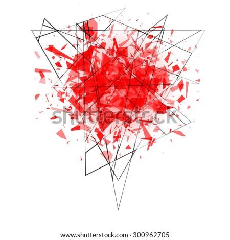 explosion cloud of black shards. vector illustration  - stock vector
