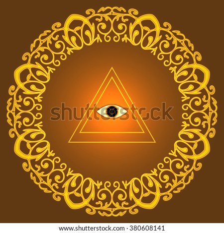 Eye of Providence, The esoteric symbol in gold lace round frame - stock vector