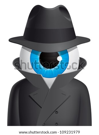 Eyeball spy character (EPS 10,includes transparency and mesh) - stock vector