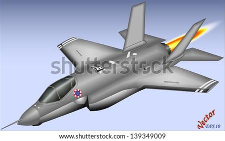 F-35 Lightning - short take-off and landing - stock vector