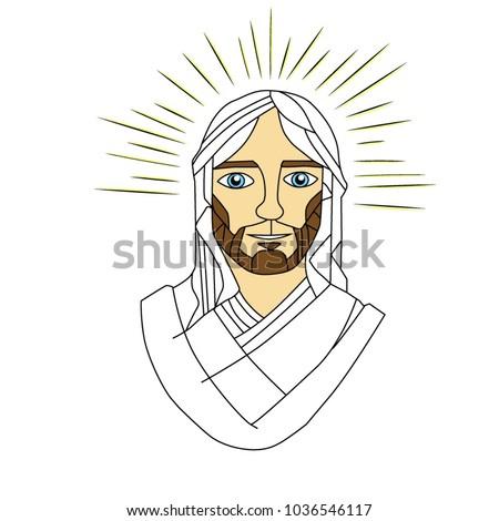 Face Color Jesus Christ Stock Vector 1036546117 - Shutterstock
