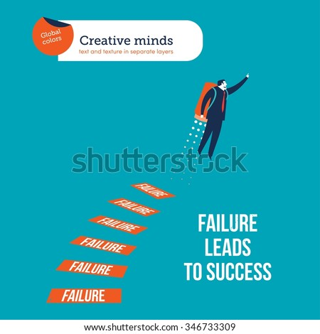 Failure leads to success. Vector illustration Eps10 file. Global colors. Text and Texture in separate layers. - stock vector