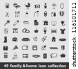 49 family and home icon collection - stock vector