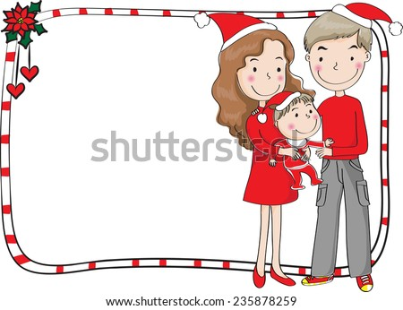 family and merry christmas card - stock vector