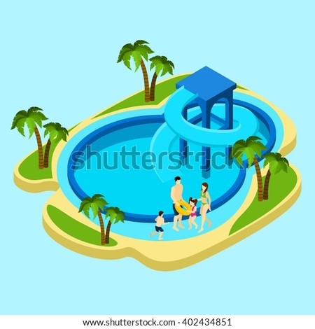 Family at water park with slides and swimming pool on blue background isometric vector illustration