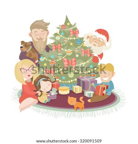 Family celebrating Christmas at the christmas tree. Vector illustration - stock vector