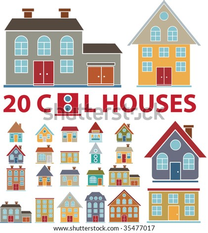 20 family cute houses. vector - stock vector