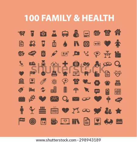 100 family, healthcare isolated signs, icons vector set for web, application, design. - stock vector
