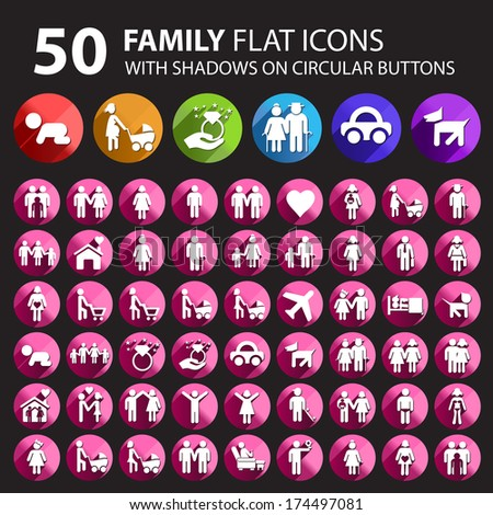 50 Family Icons with Shadows on Circular Buttons.  - stock vector