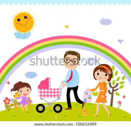 family time - stock vector