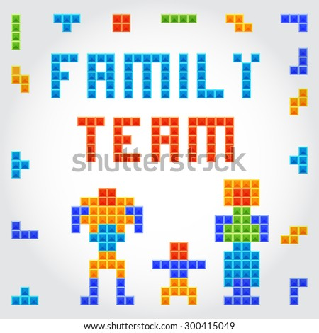 22FamilyTeam crafted retro vintage old popular game design. Collection of art  symbols signs and emblems. Vector illustration on white background.