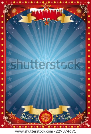 Fantastic red and blue christmas poster. Merry christmas and happy new year. A poster on the christmas theme for your christmas market... Enjoy - stock vector