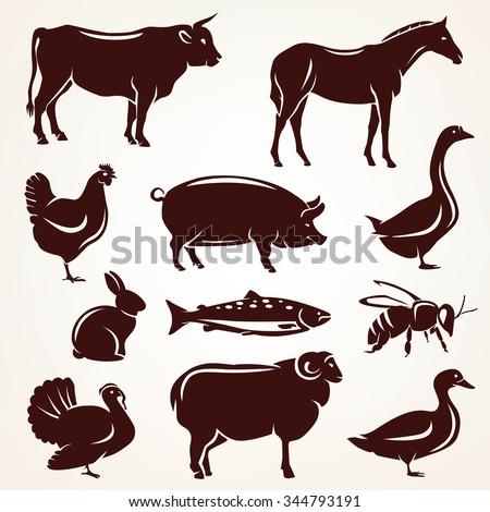farm animals silhouette collection - stock vector