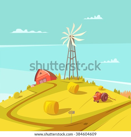 Farming and agriculture background with windmill tractor house and haystack vector illustration  - stock vector