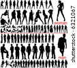 100 fashion people, women and men - stock vector
