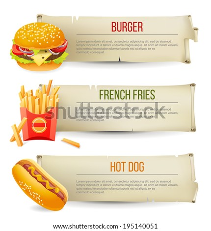 3 fast food banners in retro style - stock vector
