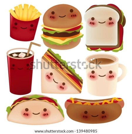 Fast Food Collection - Vector File EPS10 - stock vector
