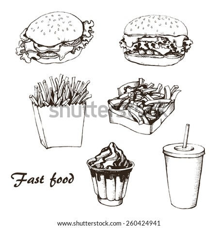 fast food with cola, hamburger,  fries and ice cream