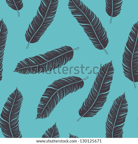 Feather seamless background - stock vector