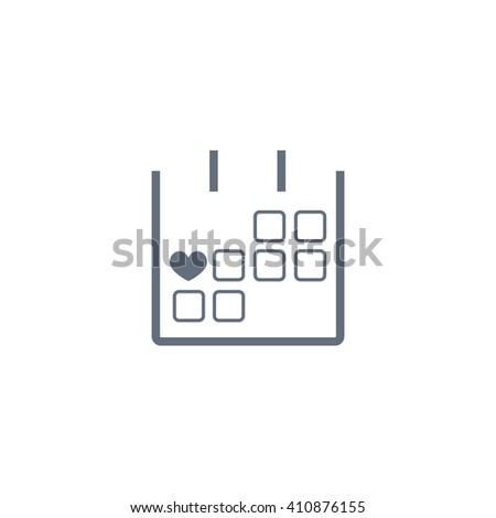 14 February calendar simple icon - stock vector