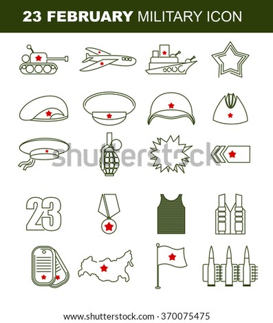 23 February. Day of defenders of fatherland. Patriotic holiday in Russia. Linear set of icons on military theme. Tank and plane. Warship and star. Green beret and soldiers helmet. Vest and epaulets  - stock vector