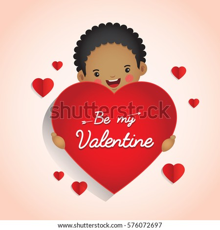 14 February, Happy Valentineu0027s Day Greetings With Young Man Holding Love Or  Red Heart.