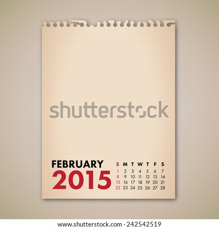 2015 February Old Note Paper Calendar Vector  - stock vector