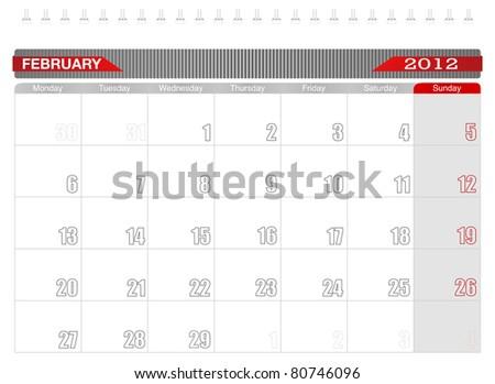 2012 February-Planning Calendar,Week starts on Monday. - stock vector