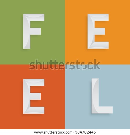 'FEEL' four-letter-word for websites, illustration, vector - stock vector