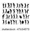 40 female golf poses silhouette - stock vector