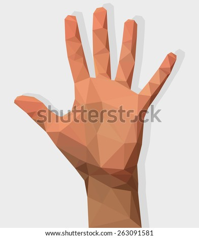 female left hand all fingers five  polygon style - stock vector
