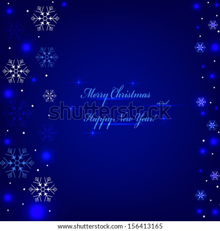 Festive blue background with sparkles and snowflakes