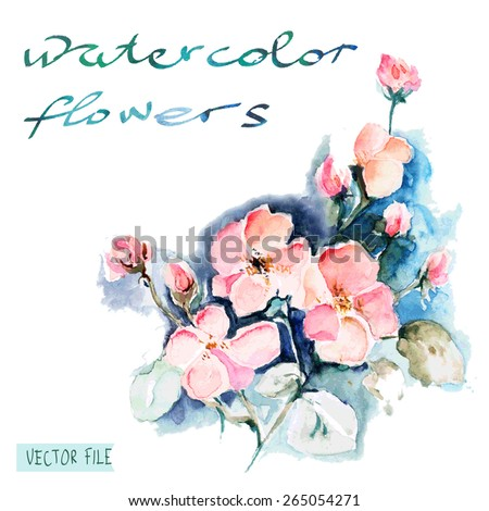"""Festive picturesque bouquet  flowers drawn with watercolor  flowers.Album""""New bouquets by a holiday from water color flowers"""".Album """"Vector bouquets by holidays from the picturesque drawn flowers."""" - stock vector"""
