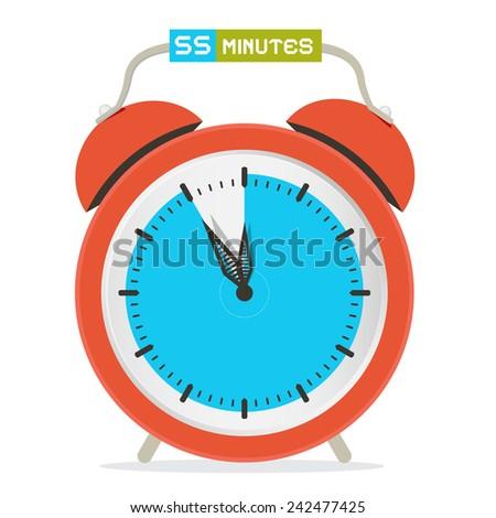 55 - Fifty Five Minutes Stop Watch - Alarm Clock Vector Illustration - stock vector