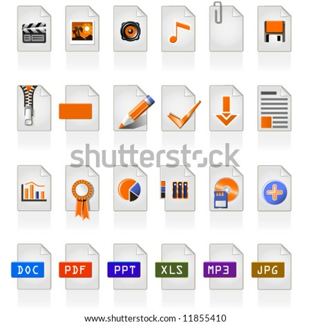 24 file icons of different file format - stock vector
