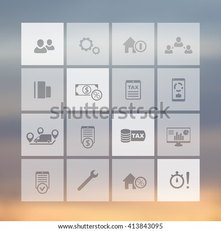 16 finance, costs, tax square transparent icons set, vector illustration - stock vector