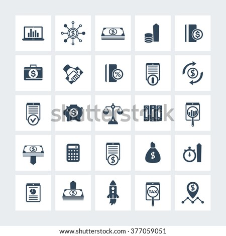 25 finance, investing icons, venture capital, investment, shares, stocks, investor, funds, money, income icons on squares, vector illustration - stock vector