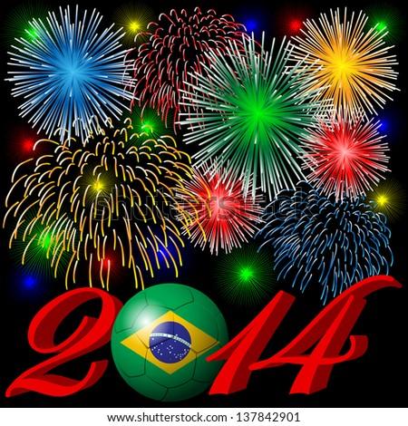 2014 fireworks - stock vector