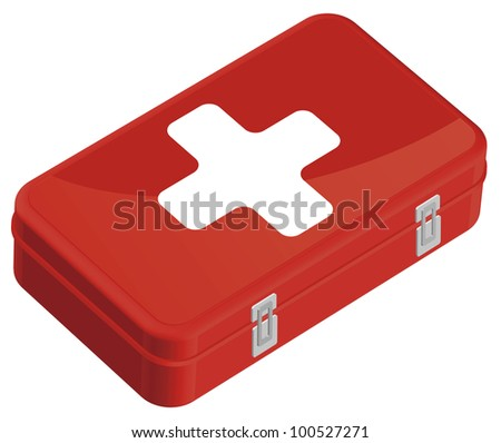 First aid kit color vector. - stock vector