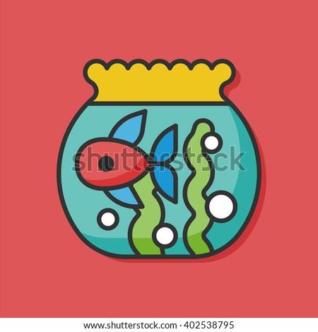 fish bowl vector icon - stock vector