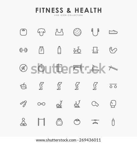 36 fitness and health line icons - stock vector