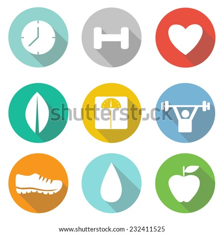 .  Fitness and Sport vector icons for web and mobile.   - stock vector