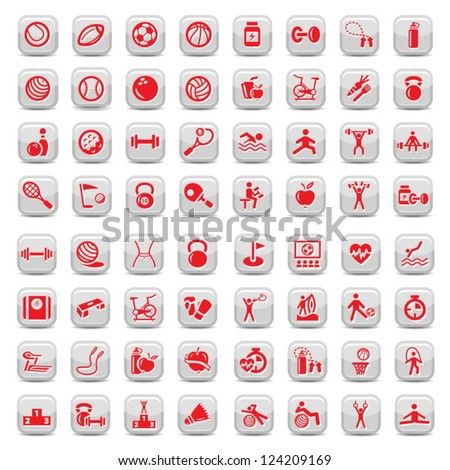 64 Fitness and Sport vector icons for web and mobile. All elements are grouped. - stock vector