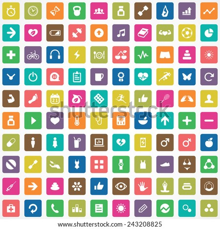 100 fitness icons big universal set  - stock vector