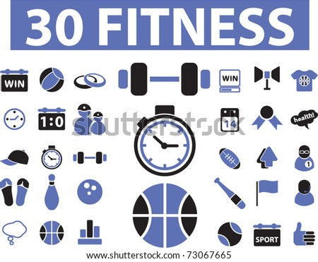 30 fitness icons, vector - stock vector