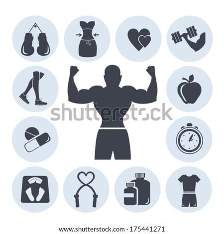 Fitness symbols. Vector. EPS-10 (non transparent elements, non gradient)  - stock vector